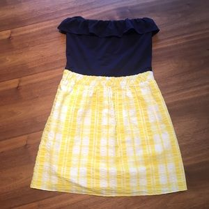 Lilly Pulitzer Dress Size XS navy and yellow.